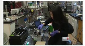 U of T Ph.D. student Lian Leng demonstrates how the Bio Printer prototype creates new skin cells.
