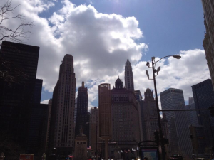 Downtown Chicago skyline in late April
