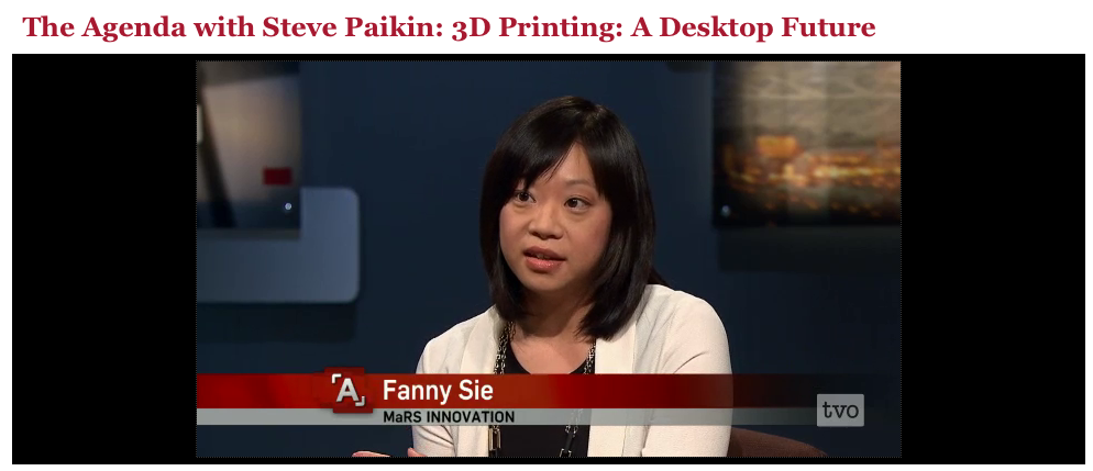 MaRS Innovation Project Manager Fanny Sie discusses 3D printing, the Bioprinter technology and the implications for society and human health on TVO's The Agenda.