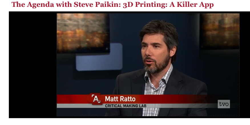 Matt Ratto, co-founder of Shotlst and director of the Critical Making Lab, discusses 3D printing, home manufacturing and civil liberties on TVO's The Agenda.