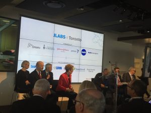 Premier Kathleen Wynne, Mayor John Tory, and Reza Moridi ready for the JLABS @ Toronto Launch