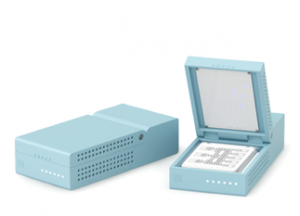 The prototype for the Miroculus-Kapplex microRNA diagnostic device, which, when launched, will allow clinicians to diagnose patients with cancer, infectious diseases or other complex conditions with a blood test rather than more invasive procedures (e.g., a biopsy or endoscopy).